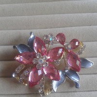 ice blue and pink crystal flower rhinestone goldtone  brooch  pin