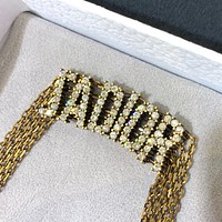 Dior women's personalized necklace with diamond letters