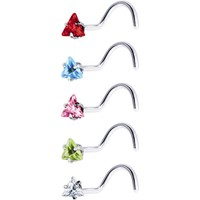 18 Gauge Stainless Steel Triangular CZ Nose Ring Pack