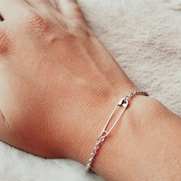 Small Safety Pin Bracelet, available in gold or silver, safety pin jewelry, pansuit nation bracelet, safewithme