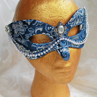 Royal Blue and Silver Brocade Masquerade Mask with Pearl Accents