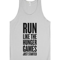 Run Like The Hunger Games Just Started-Unisex Silver Tank