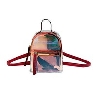 Clear Backpacks popular Miyahouse Fahsion Colorful Laser Design Mini Backpack For Female Transparent PVC Small Travel Rucksack Lady Clear Jelly Bag AT_62_4