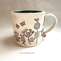 Large Ceramic Mug, Coffee Cup, Birds and Butterflies Design, Nature Art, Speckled Green