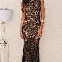 Black Sheer Lace Overlay Maxi Dress