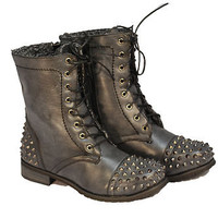 WOMEN FASHION Combat Army Military Riding Boot BLACK  Studded MID CALF SIZE 10