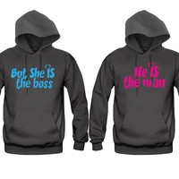 He is The Man - But She's The Boss Unisex Couple Matching Hoodies