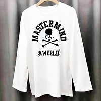 Mastermind JAPAN Tide brand personality wild round neck long-sleeved sweater white