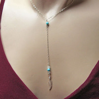 Feather Necklace, 925 Sterling Silver Feather Necklace, Y Necklace, Turquoise and Moonstone Necklace, Dainty Thin Chain, Delicate Jewelry