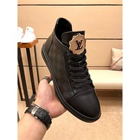 lv louis vuitton trending womens men leather side zip lace up ankle boots shoes high boots 201