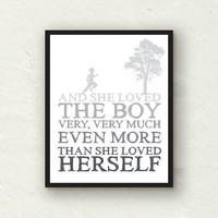 Nursery Decor - The Giving Tree - She loved the boy - 8x10 green graphic print