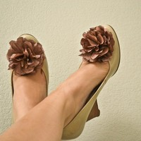 Fabric Flower Shoe Clips Dusty Violet Victorian Rose by No144