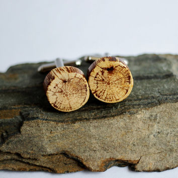 Wood Cuff Links Eco-Friendly Hickory Branch Wooden Cufflinks Reclaimed Sustainable Men's Accessories By Hendywood