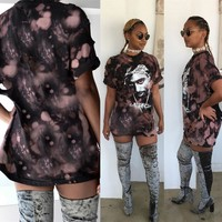 hot new t shirt women print shirt dress 2016 sexy hole tupac hip-hop short sleeve t-shirt femme tops plus size clothing XD007