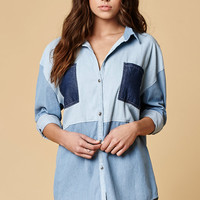 MinkPink Sould Patch Denim Button-Down Shirt at PacSun.com