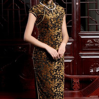 Floral Lace Night-Out Qipao Gown