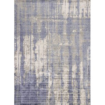 "Blue and Grey Rug - 8'6"" x 11'6"" Viscose Grey/Blue Area Rug"