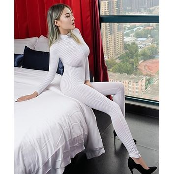 Black/White Striped Sheer Long Sleeve Jumpsuit