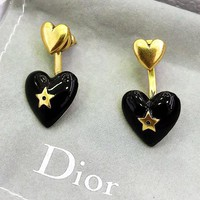 DIOR Classic Stylish Women Chic Heart Pendant Earrings Jewelry Accessories