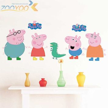 DCCKF4S Cartoon Peppa Pig Cute Wall Sticker Bedroom Child Decoration Painting Baby Living room Wallpaper DIY Removable Home decor-lch