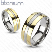 6mm 2-Tone Gold IP Edges Band Ring Solid Titanium Wedding band Women's Ring