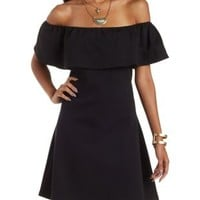 Black Off-the-Shoulder A-Line Ruffle Dress by Charlotte Russe