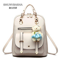 Women Backpacks Simple Style Female PU Leather Backpacks Mochila Ladies Fashion Backpacks Stylish School Bags For Teenage Girls