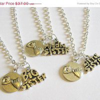 Summer Sale Save15% 3 Sisters Pinky Promise Necklaces Big , Middle and Little Sister