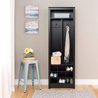 Space-Saving Entryway Organizer with Shoe Storage, Black