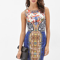 FOREVER 21 Abstract Floral Bodycon Dress Black/Multi