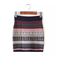 Tribal Print Stretchable Knitted Mini Skirt