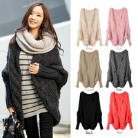 Women Oversized Loose Knitted Sweater Batwing Sleeve Tops Cardigan Outwear Coat = 1946425476