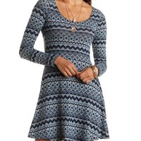 Tribal Print Sweater Knit Skater Dress - Navy Combo