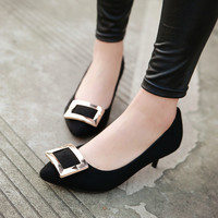 2017 New autumn fashion plus size 34-43 classic style medal buckle pointed toe med-heel women brand pumps office lady work shoes