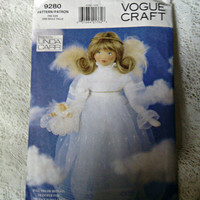Angel Doll Pattern Linda Carr Angel Pattern UNCUT Vogue 9280 27 inch Doll Pattern 1995 Out of Print With Face Transfer Last Minute Gift