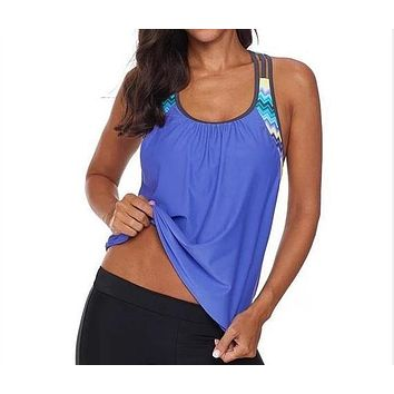 Swimsuit T-Back Push up Tankini Top with Shorts
