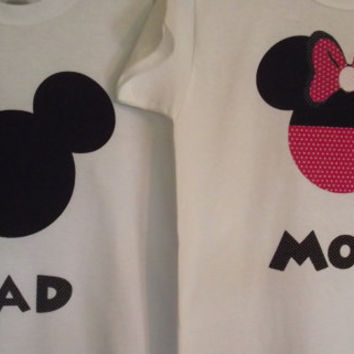 Mickey Minnie Mouse - Disney Birthday Party Custom Pink & Black T-Shirt Personalized Applique Tee Shirt Top