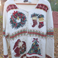 vintage ugly Christmas sweater party knit cardigan cardigan trees stockiings wreaths Mrs. Claus