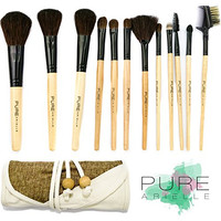 Pure Arielle Professional 12 Piece Makeup Brush Set All Natural Real Hair - Bamboo Handle Pcs Cosmetic Beauty Brushes Kit - Make Up Cloth Organizer Case / Bag - Not Cheap Synthetic