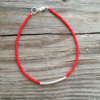Opaque Red and Silver Tube Seed Bead Bracelet