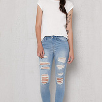 PacSun Mae Blue Ripped Dreamy Jeggings at PacSun.com