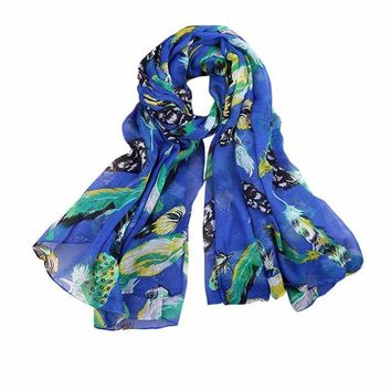 2017 New Arrival Scarf Women Ladies Leaves Birds Print Voile Soft Long Scarf Warm Wrap Shawls Female echarpe hiver femme #1201