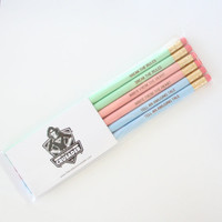 Resolution pencil set of six in mulberry. Inspiring engraved pencils. New Year Inspiration