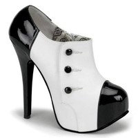5 3/4 Gangster Costume Shoes Button Detail Black White Oxfords Size: 11