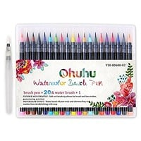 Ohuhu 20 Colors Watercolor Brush Marker Pens W/ A Water Coloring Brush, Soft Flexible Tip for Adult Coloring Books, Manga, Comic, Calligraphy