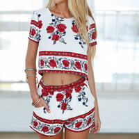 Floral Printed Short Sleeve Top and Shorts