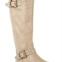 Flat Riding Boot with Studded Straps