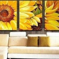 Large Oil Painting 3 Piece Wall Art Group Painting Canvas Art Modern Art 100% Hand Painted Art Abstract Art (Unframed and Unstretched)