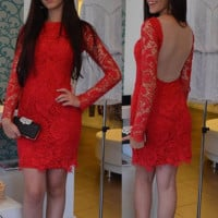 Hot Red Homecoming Dress,  Long Sleeves Scoop Neck Lace Mini Homecoming  Dresses, Short Prom Dress