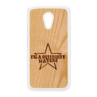 Carved on Wood Effect_Celebrity Hater White Hard Plastic Case for Moto G2 by Chargrilled
